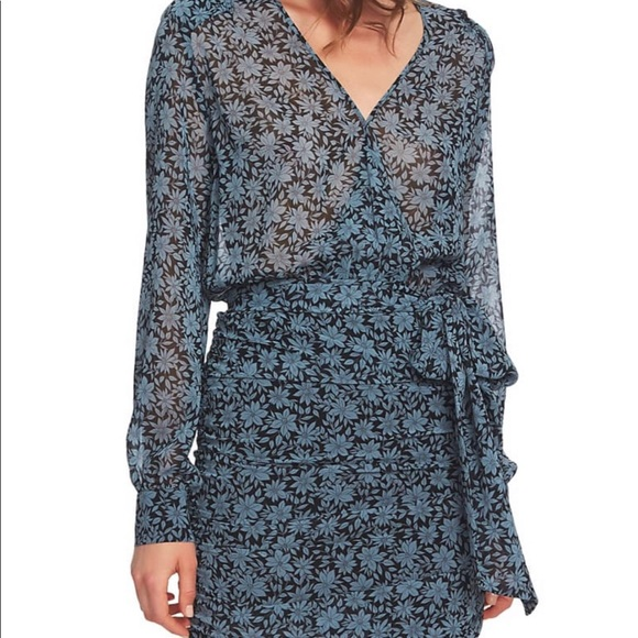 1. State Dresses & Skirts - New 1. State Wild Blooms Wrap Front Blue/Black DR